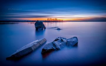 обоя природа, побережье, камни, облака, море