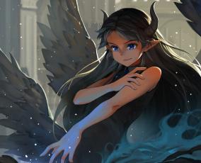 Картинка pixiv+fantasia аниме магия pixiv fantasia девушка арт крылья рога
