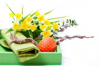 Картинка праздничные пасха белый фон цветы нарциссы коробка яйца праздник