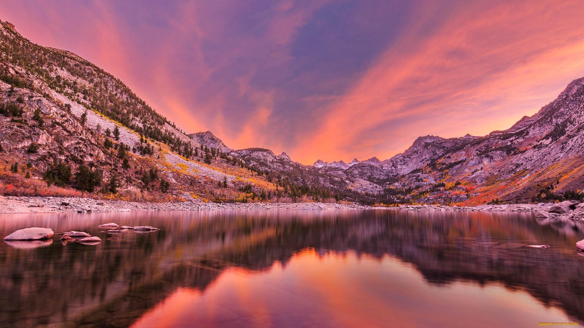 горы отражение закат загрузить