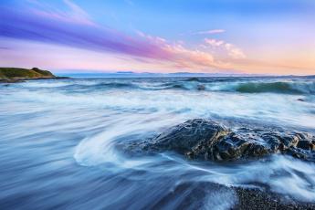 Картинка природа побережье море камни рассвет волны