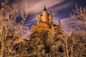 обоя города, - дворцы,  замки,  крепости, замок, холм