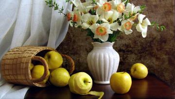 обоя еда, Яблоки, нарциссы, яблоки