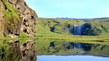 обоя природа, водопады, поток, вода, горы