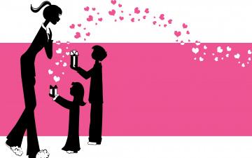 обоя праздничные, день матери, дети, мать