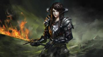 Картинка фэнтези девушки девушка меч огонь