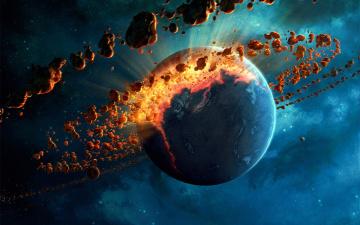 обоя взрыв планеты, космос, разное, другое, планеты