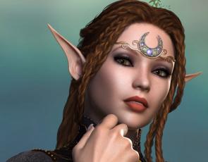 обоя 3д графика, эльфы , elves, эльфийка, взгляд, фон