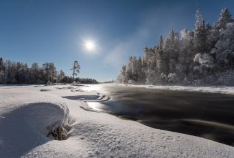обоя природа, зима, лес, река, снег