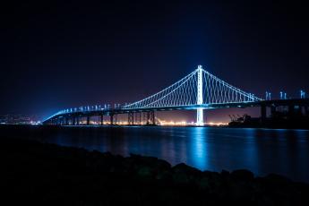 обоя города, - мосты, rchitecture, bay, treasure, bridge, island, ligth, nigth, city, skyline, san, francisco