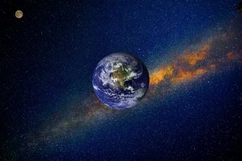 обоя космос, земля, планеты, луна, фотошоп, туманность, звёзды, вселенная