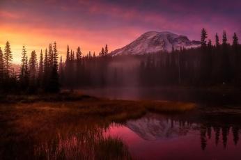 Картинка природа восходы закаты горы утро вечер свет туман лес