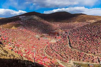 обоя города, - панорамы, седа, пейзаж, дома, монастырь, сычуань, тибет, китай