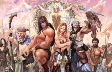 обоя рисованное, комиксы, взгляд, фон, униформа, мужчины, девушки