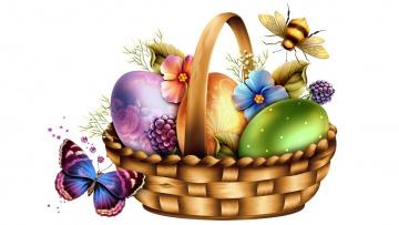 обоя праздничные, пасха, яйца, корзина