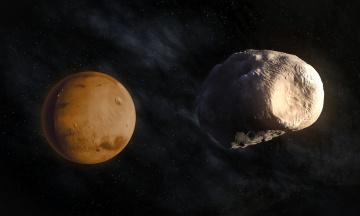обоя космос, марс, звезды, планета, спутник, фобос