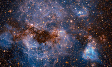 обоя космос, галактики, туманности, большое, магелланово, облако, наса, фото, с, хаббл, карликовая, галактика, типа, sbm, звезды, спутник, млечного, пути