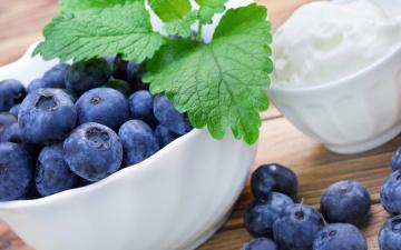 обоя еда, фрукты,  ягоды, berries, cream, ягоды, сливки, blueberry, fresh, черника