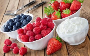 обоя еда, фрукты,  ягоды, blueberry, strawberry, творог, черника, ягоды, raspberry, fresh, клубника, berries, малина