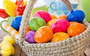 обоя праздничные, пасха, цветы, eggs, flowers, spring, decoration, корзина, весна, яйца, крашеные, happy, tulips, easter, colorful, тюльпаны