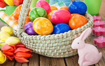 обоя праздничные, пасха, цветы, eggs, spring, flowers, colorful, decoration, корзина, весна, тюльпаны, easter, яйца, крашеные, happy, tulips