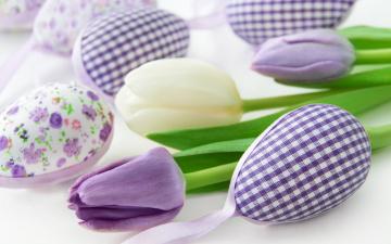 обоя праздничные, пасха, tulips, flowers, spring, delicate, easter, happy, pastel, decoration, цветы, eggs, весна, тюльпаны