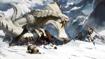 обоя фэнтези, существа, warriors, rock, monster, fantasy, sword, art, mountain, digital, weapons, snowfall, battle, snow, artwork