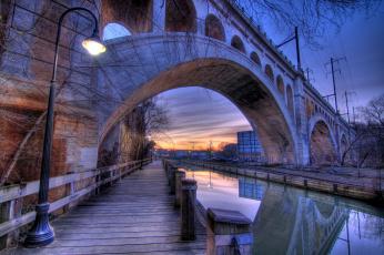 Картинка manayunk canal города мосты филадельфия