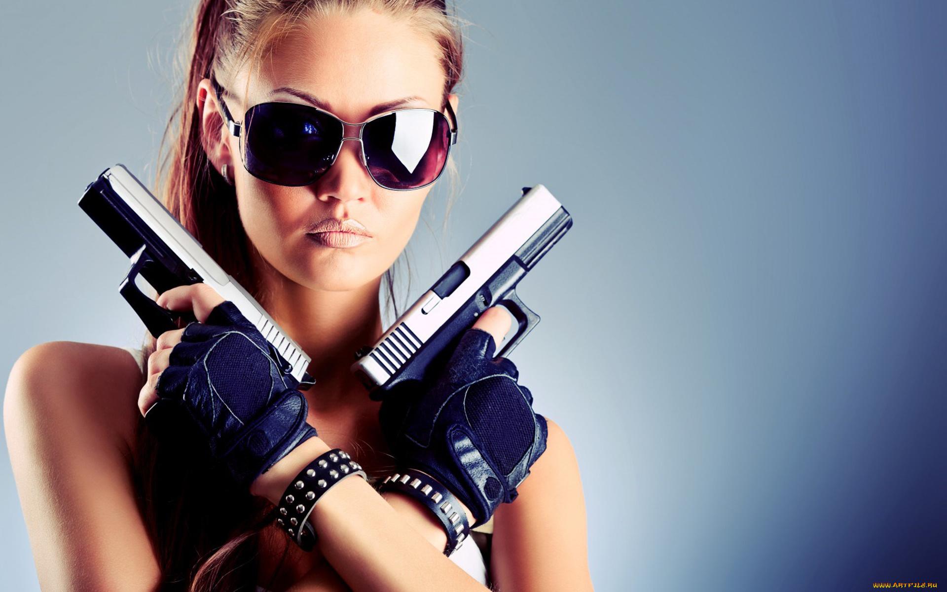 Прикольные картинки девочка с пистолетом, стихами