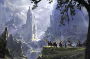 обоя фэнтези, замки, арт, fantasy, флаги, рыцари, деревья, пейзаж, водопад, фэнтази