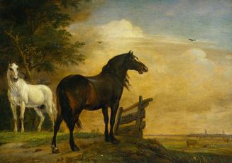 обоя рисованное, животные,  лошади, паулюс, поттер, масло, дерево, две, лошади, на, пастбище, с, забором, картина