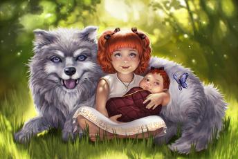 обоя рисованное, дети, взгляд, фон, собака, бабочка, улыбка