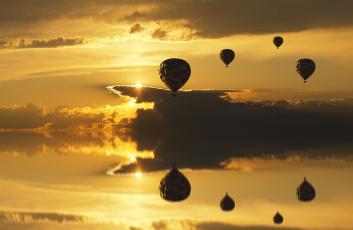 обоя авиация, воздушные шары, полет, шары