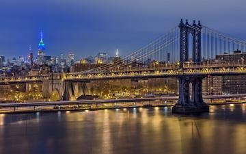 обоя города, нью-йорк , сша, здания, огни, река, мост, манхеттен