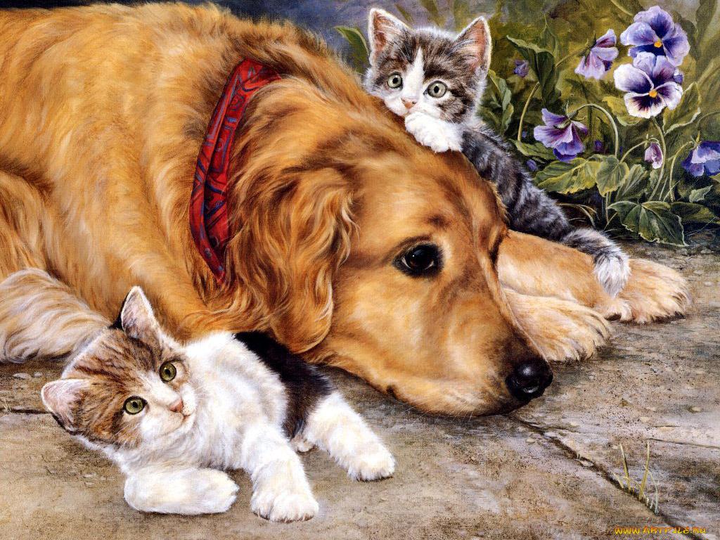 Рисованные открытки животных