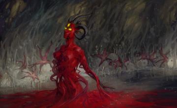 Картинка фэнтези существа плесень демон рога существо красное арт споры звёзды