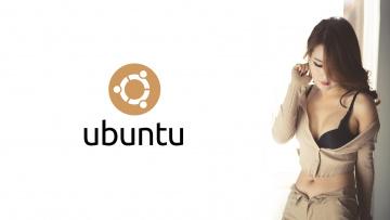 обоя компьютеры, ubuntu linux, девушка, фон, логотип
