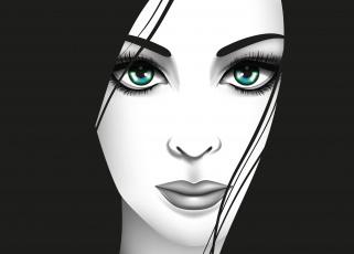 обоя векторная графика, люди , people, зеленые, глаза, вектор, взгляд, девушка, лицо