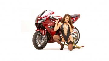 обоя moto girl 877, мотоциклы, мото с девушкой, moto, girls