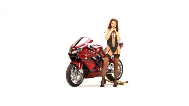 Обои картинки фото moto girl 875, мотоциклы, мото с девушкой, moto, girls
