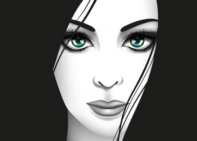 Обои картинки фото векторная графика, люди , people, зеленые, глаза, вектор, взгляд, девушка, лицо
