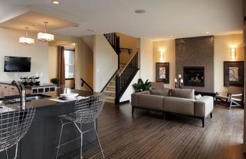Картинка интерьер другое кухня гостиная лестница студио диван