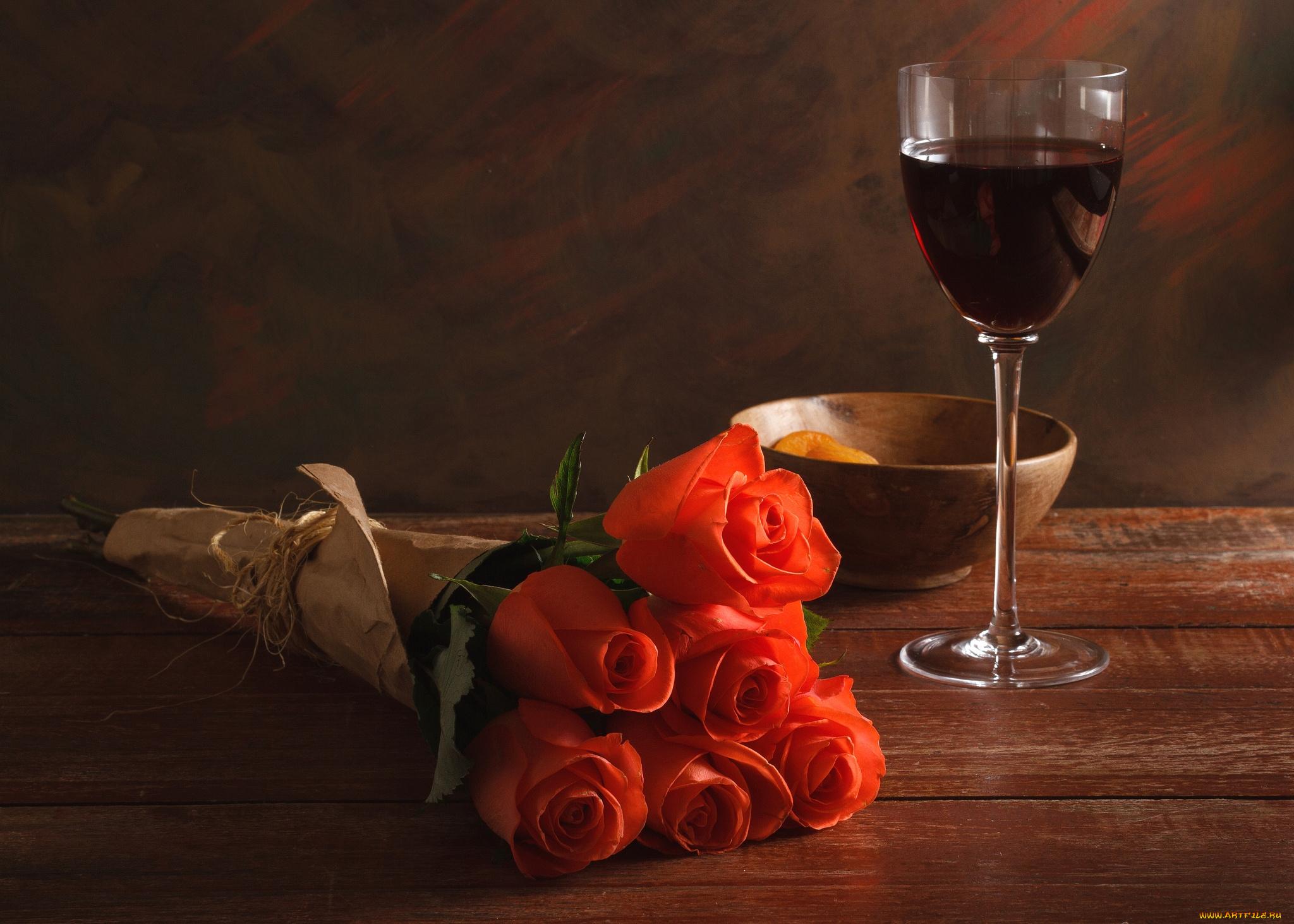 Два бокала с розами  № 750357  скачать