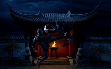 Картинка юмор+и+приколы торт ниндзя поединок драка двор дом ночь огонь