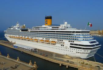 Картинка costa+concordia корабли лайнеры океанский лайнер причал круиз