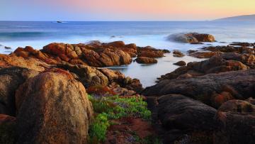 Картинка rocks on shore природа побережье море трава камни