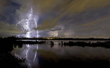 Картинка lightning природа молния гроза тучи река молнии
