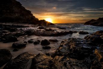 Картинка природа восходы закаты океан бухта горизонт солнце