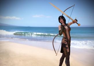 Картинка 3д+графика амазонки+ amazon девушка лук фон взгляд