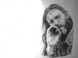 Картинка lemmi+kilmister рисованное люди портрет мужчина взгляд сигарета фон